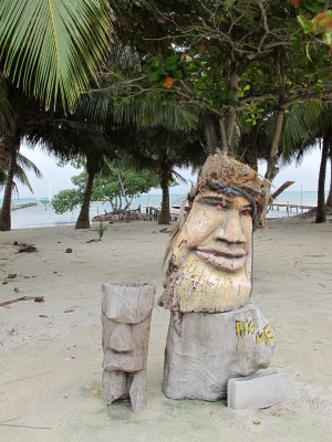 Carved Face on Caye Caulker Belize