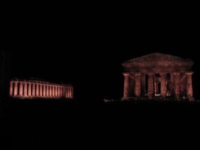 Paestum Ruins at Night