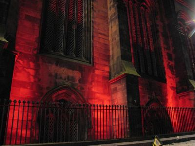 Edinburgh Cathedral Red Lights at Night