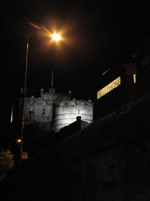 Telephone and Edinburgh Castle at Night